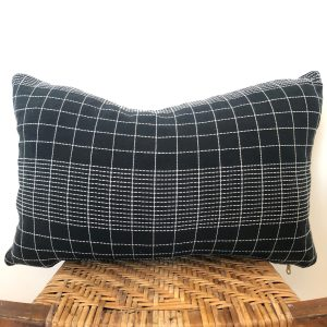 vintage black plaid lumbar pillow