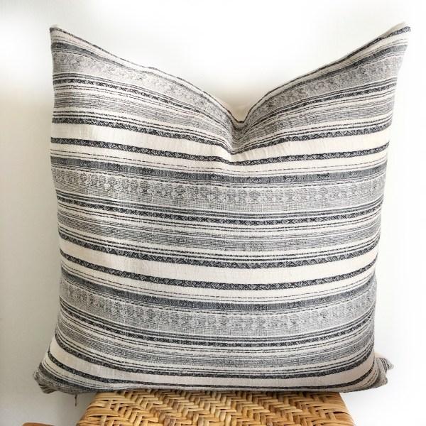 vintage navy stripe pillow