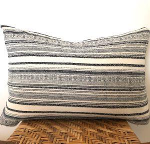 vintage navy stripe lumbar pillow