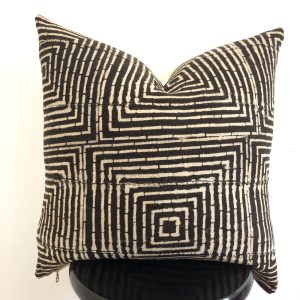 unique black pattern mudcloth pillow
