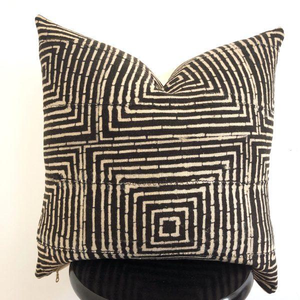 unique black pattern mudcloth pillow