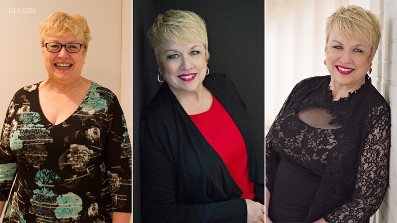 Before and after photos of a middle aged woman in black