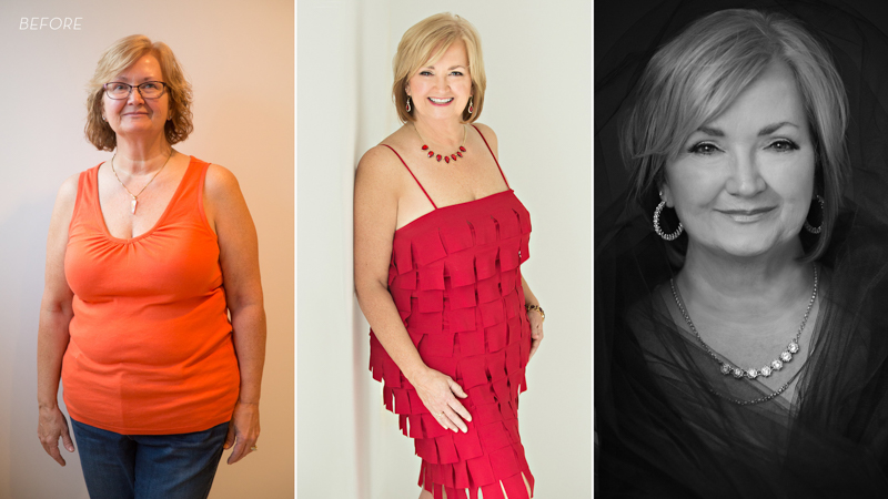 Before and after photos of a middle aged woman in red