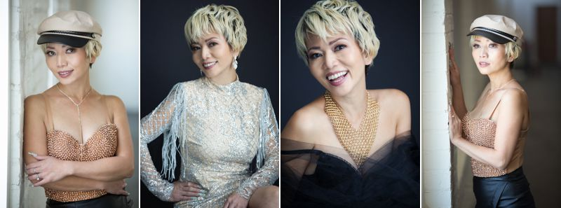 Four portraits of an Asian woman in glamorous dresses