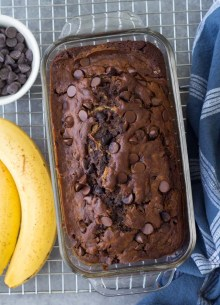 Chocolate Banana Bread with chocolate chips.