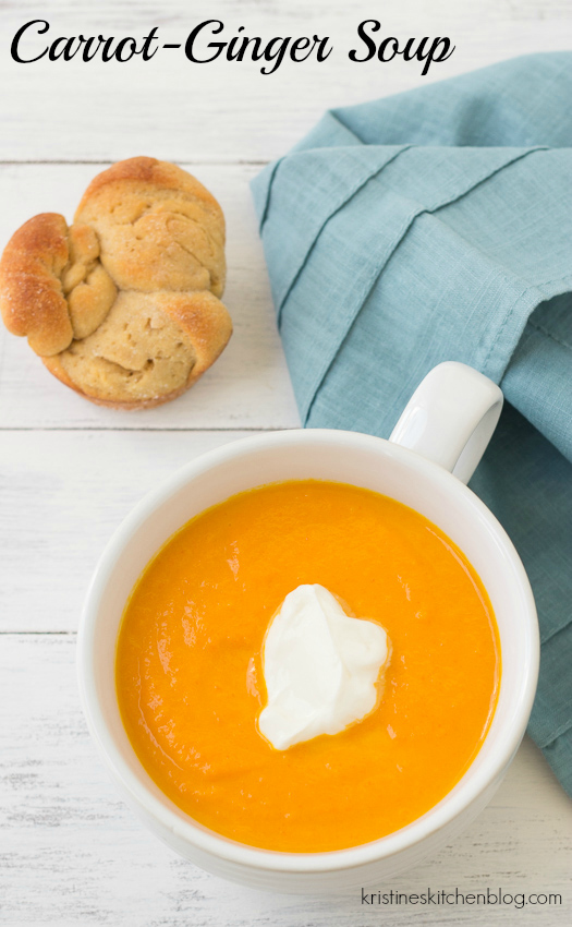 Carrot Ginger Soup. My all-time favorite carrot soup recipe! Six ingredients, quick & easy! | Kristine's Kitchen