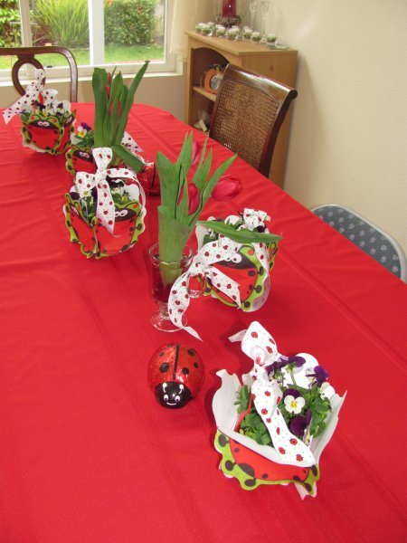 table decorations for ladybug birthday party