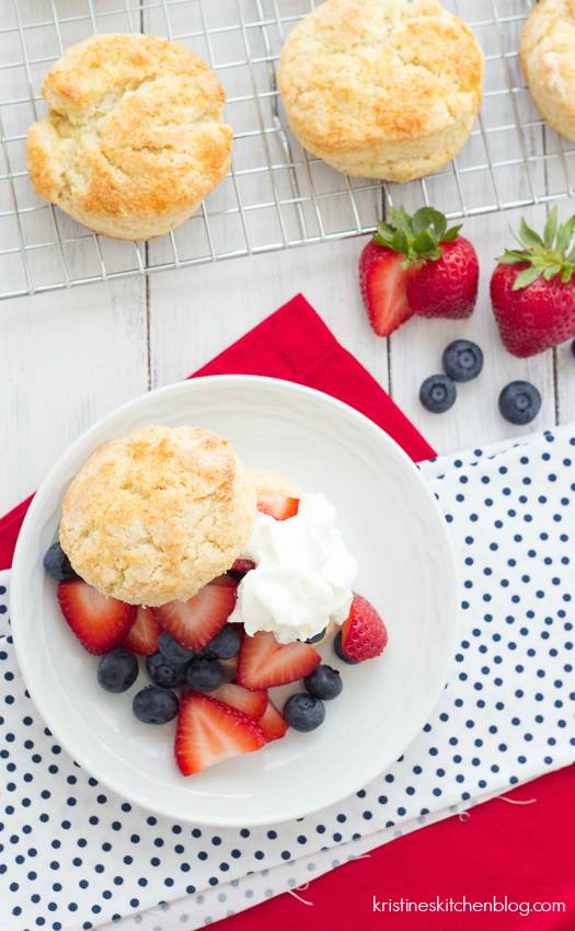 Berry Shortcakes - THE BEST light, tender shortcakes with fresh berries and cream | Kristine's Kitchen