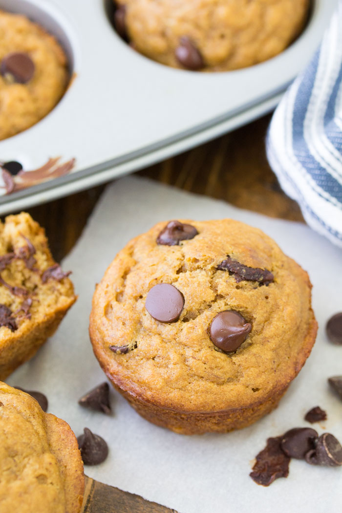 Peanut Butter Banana Muffins with Chocolate Chips. A healthy muffin recipe.