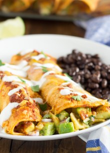 Enchiladas stuffed with creamy avocado and cheese, and smothered in the best homemade enchilada sauce. These avocado enchiladas are my favorite easy enchilada recipe!