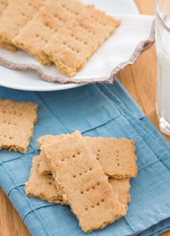 Homemade graham crackers on a blue napkin.