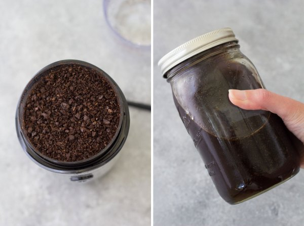 Coarsely ground coffee beans and a mason jar with cold brew coffee.