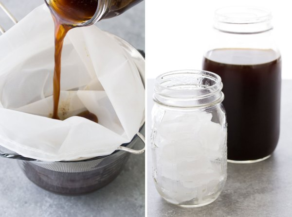 Strain cold brew and then pour over ice.