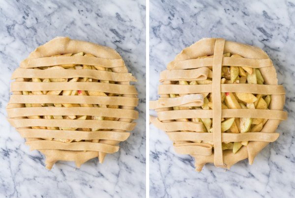 Two photos of weaving a lattice pie crust: strips covering pie in one direction and then weaving the first strip of dough.