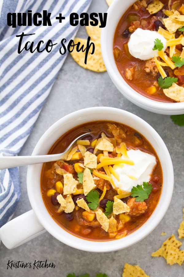 Quick and easy taco soup in a bowl with toppings.