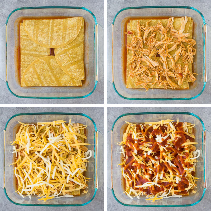Step by step photos of layers: tortillas, chicken, cheese, enchilada sauce.