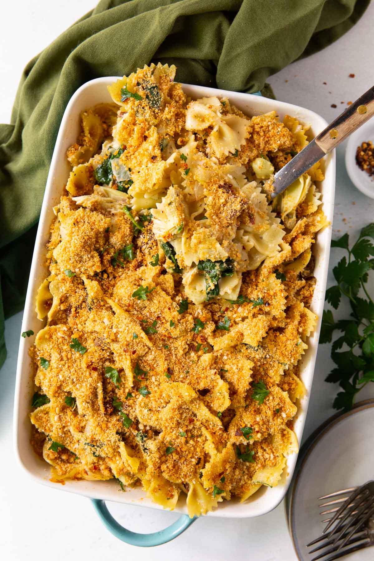 chicken florentine pasta bake in a casserole dish