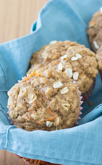 Healthy Carrot Cake Oat Muffins - perfect for snacking or a grab-and-go breakfast!