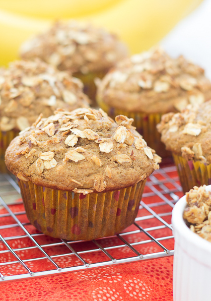 Granola Crunch Banana Muffins - there's granola inside and on top of these healthy muffins!