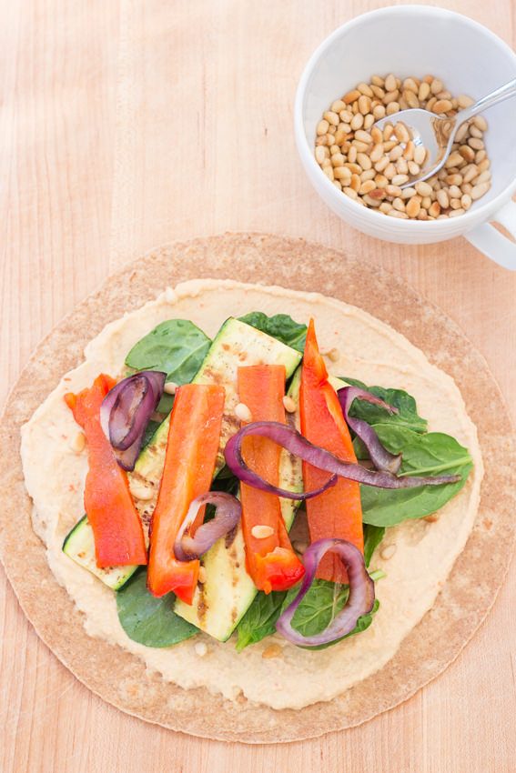 Hummus and Grilled Vegetable Wrap - easy, healthy, delicious   Kristine's Kitchen