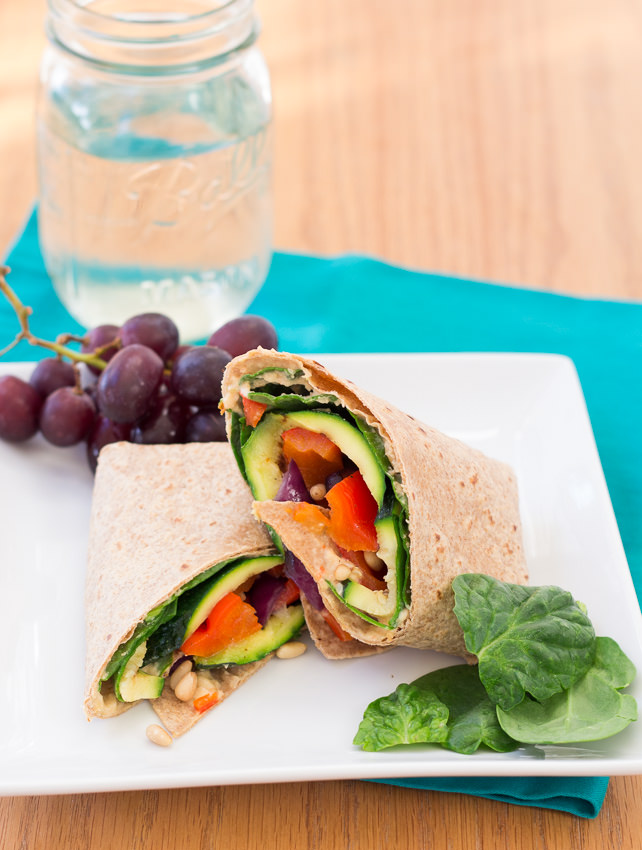 Hummus and Grilled Vegetable Wrap - easy, healthy, delicious | Kristine's Kitchen