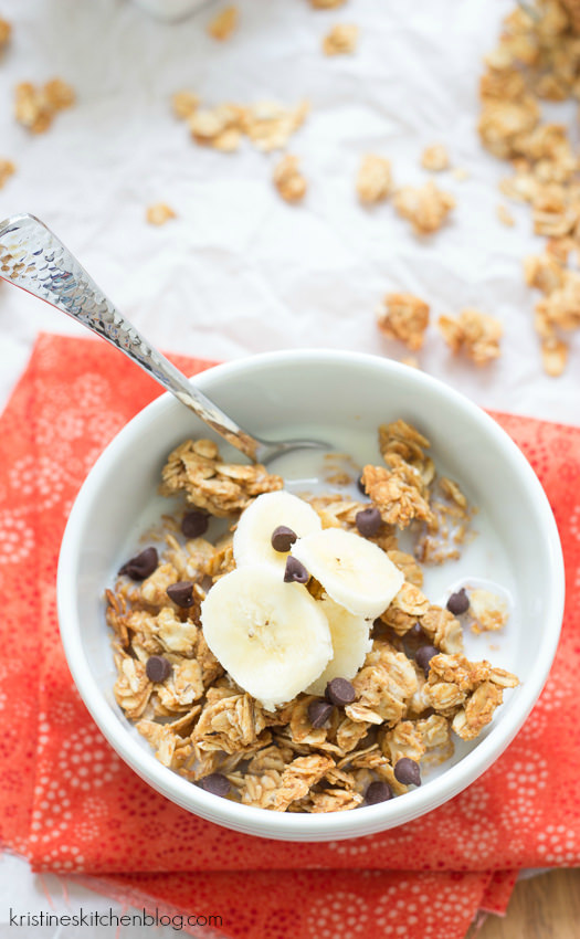 This peanut butter granola is made with just 4 ingredients, in only 10 minutes of prep time. It's crisp and lightly sweetened with honey, with just the right amount of peanut butter flavor. Make it for a quick breakfast or snack!