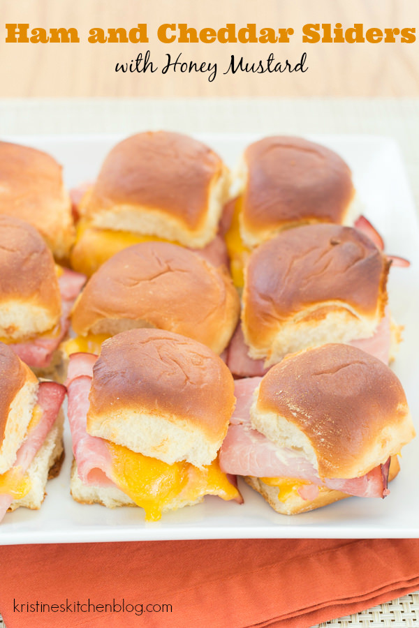 ham and cheese slider on plate with text title overlay