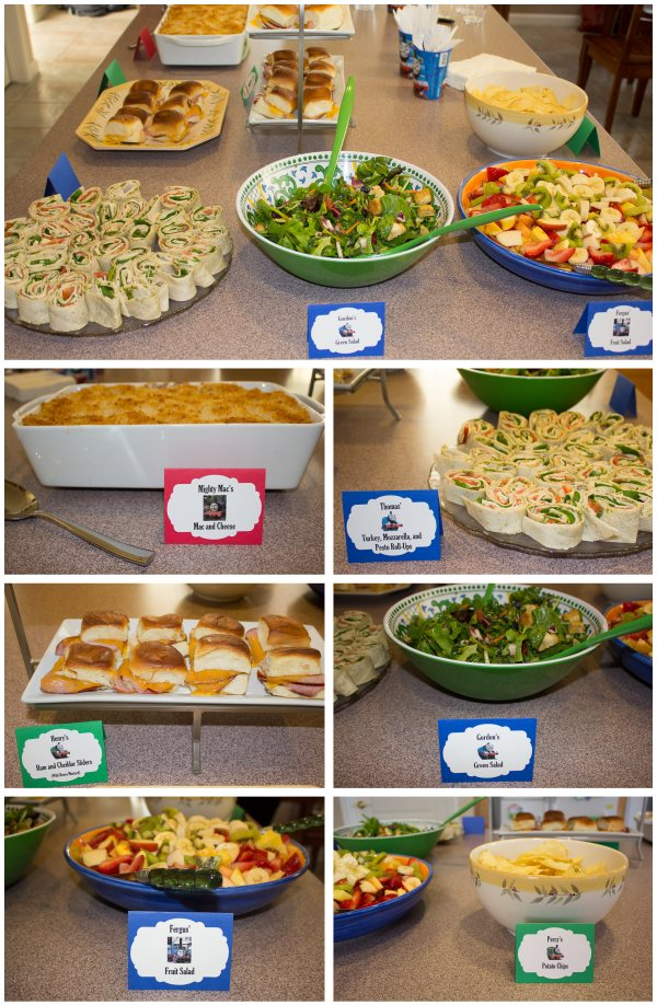 collage of all the food for the birthday party