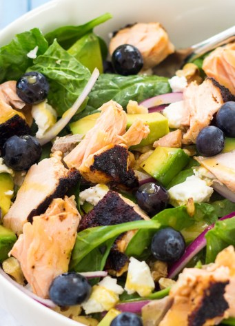 close up of salmon salad ready to eat
