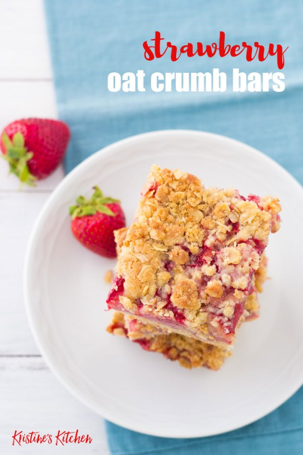 """A fresh strawberry filling and buttery oat crust will keep you coming back for """"just one more"""" taste of these Strawberry Oat Crumb Bars! These fresh strawberry bars are a perfect spring and summer dessert. Try them for Mother's Day!"""