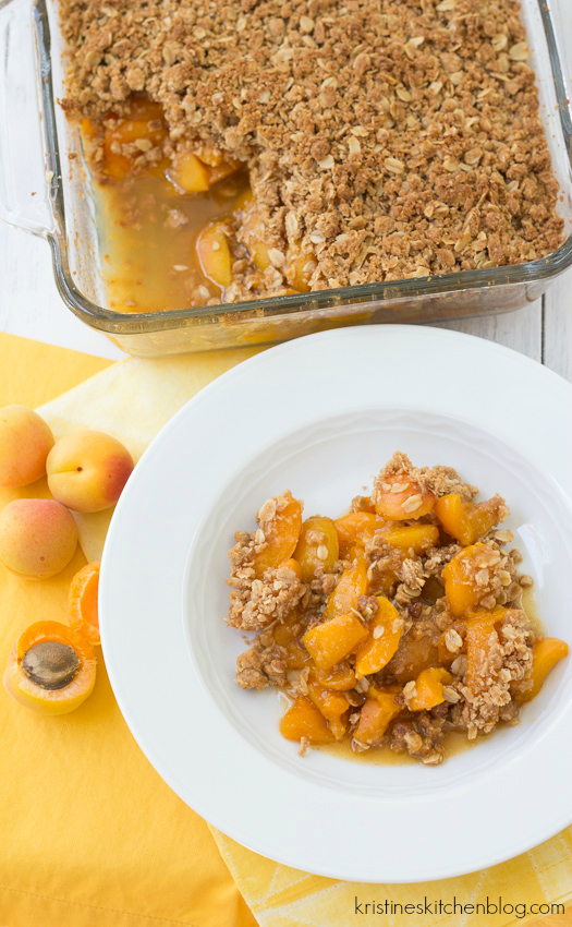apricot crisp styled on a white plate