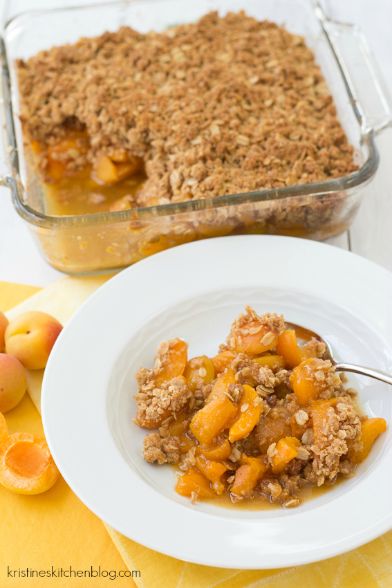 fresh baked apricot crisp from the oven and on a white plate ready to eat