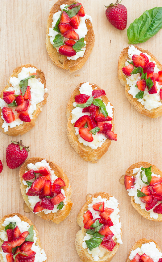 Strawberry-Basil Bruschetta with Fresh Ricotta - a perfect appetizer for summer!   Kristine's Kitchen