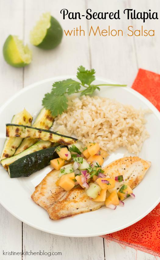 Pan-Seared Tilapia with Melon Salsa | Kristine's Kitchen