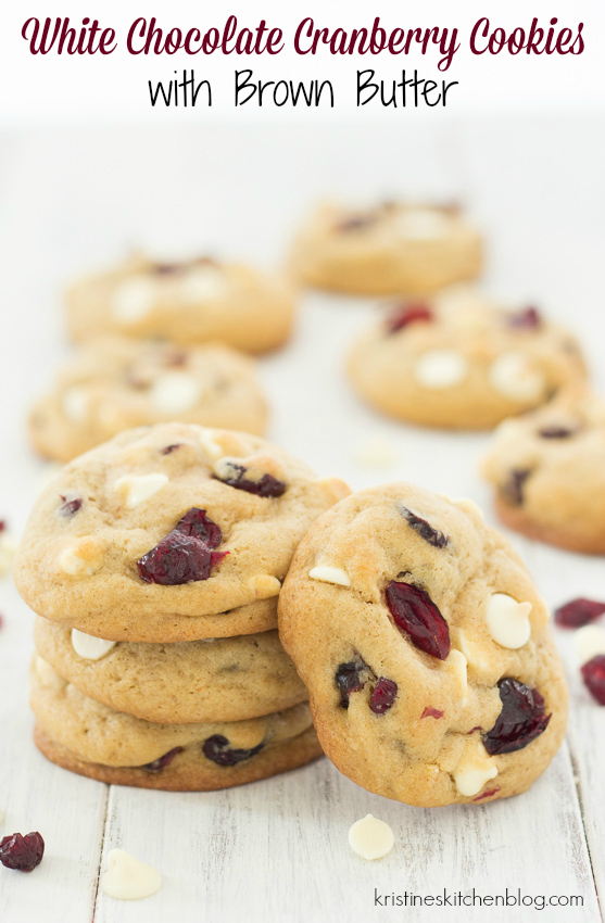 Soft, chewy cookies loaded with cranberries and white chocolate chips, plus brown butter! | Kristine's Kitchen