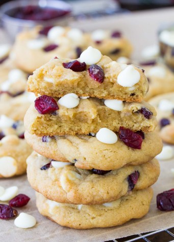 stacked with top cookie broken in half