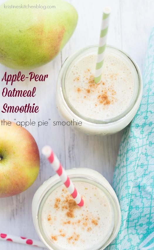 decorative pinterest image of apple pear smoothie