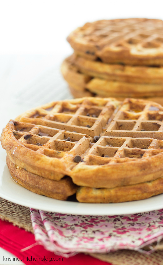 close up side view of chocolate chip waffles.
