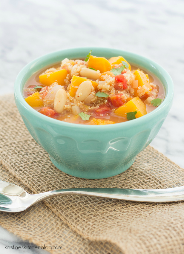 Slow Cooker Butternut Squash and Quinoa Chili Soup. An easy, healthy, vegetarian soup made in the crock pot!
