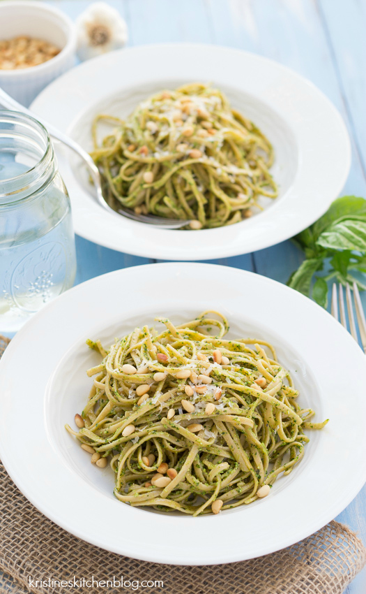 ready to eat kale pesto recipe tossed with linguine pasta