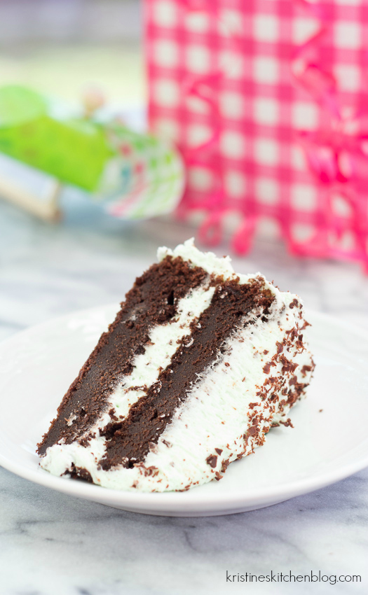 Rich and Fudgy Chocolate Cake with Mint Buttercream - so fun for a birthday celebration!