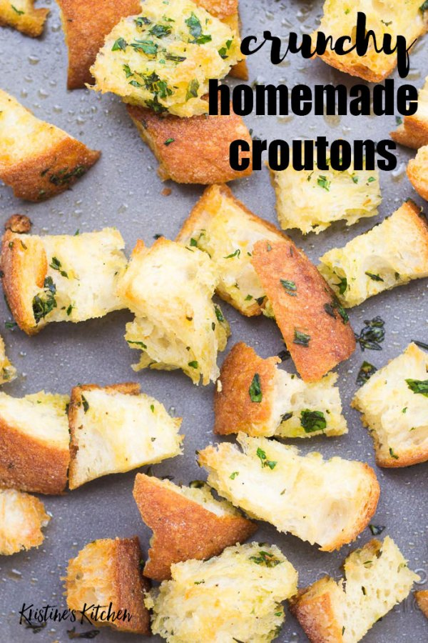 Crunchy Homemade Croutons on a baking sheet.