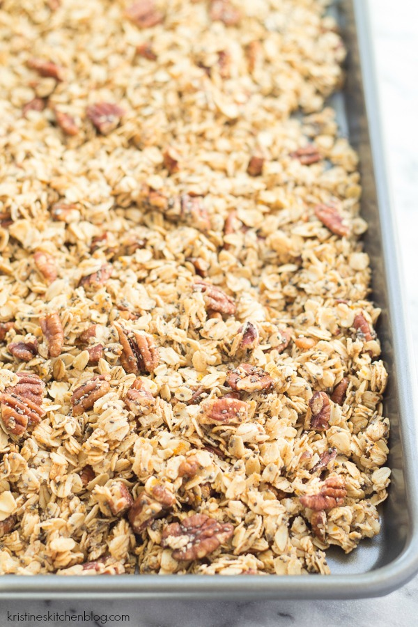 granola on baking sheet just out of the oven
