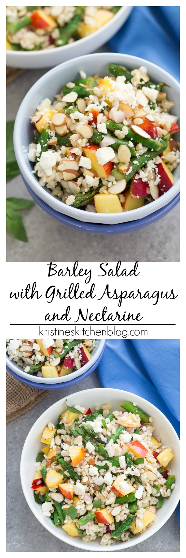 Barley Salad with Grilled Asparagus and Nectarines, plus tangy feta, crunchy almonds and a light honey-lemon dressing! The best side dish or lunch!