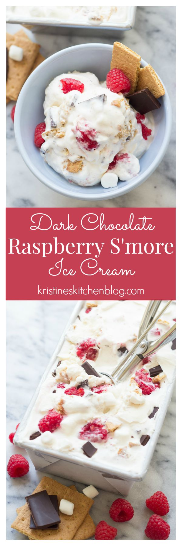 Creamy Dark Chocolate Raspberry S'more Ice Cream. You'll want a big bowl of this sweet ice cream!