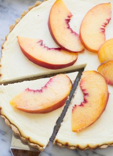 Greek Yogurt Cheesecake Tart with Shortbread Crust and Peaches