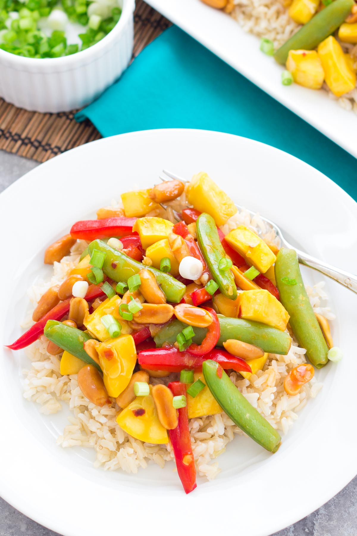 Vegetable stir fry served over brown rice.