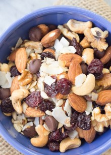 overhead view of trail mix in blue bowl
