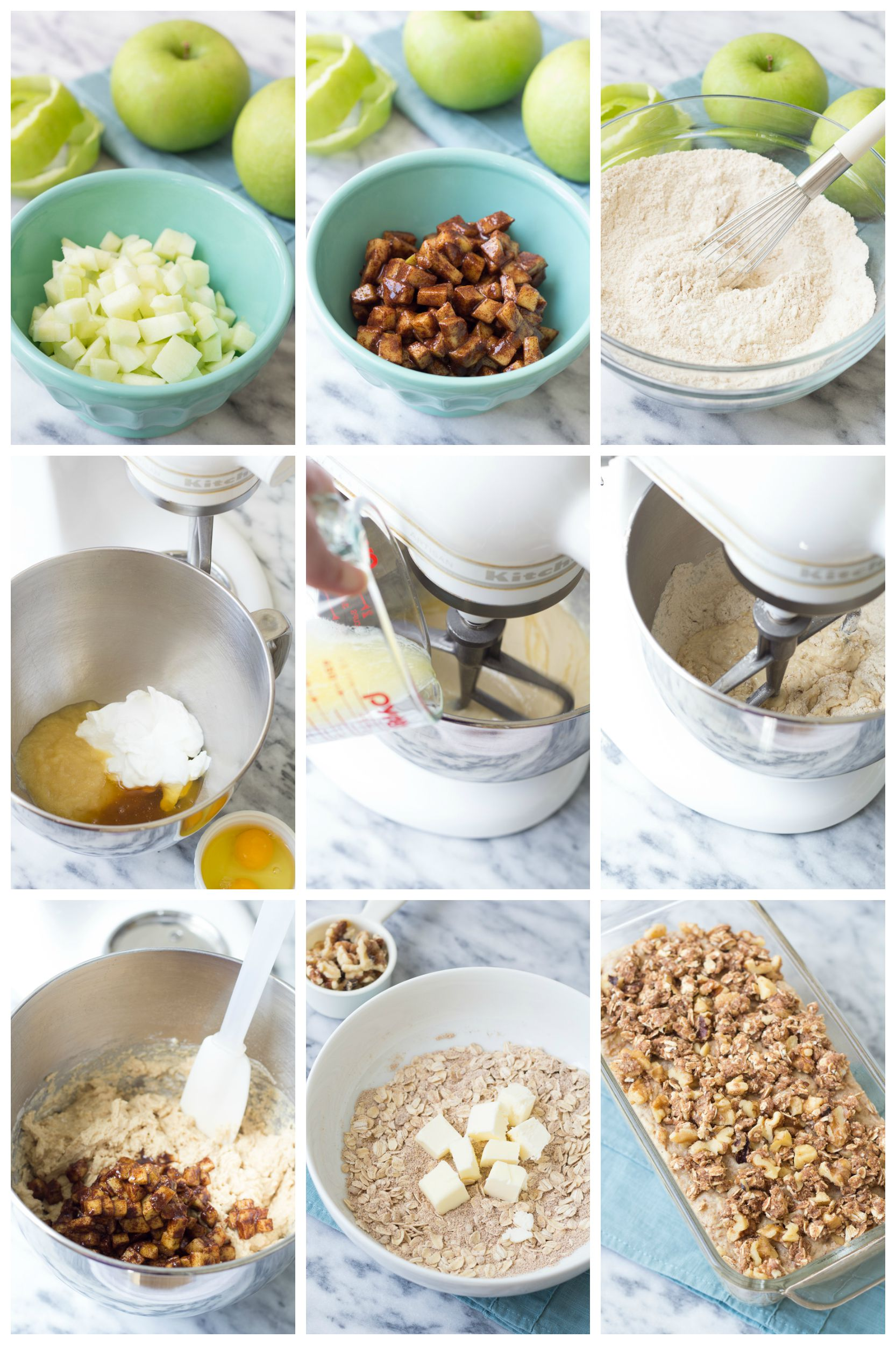 collage of 9 steps how to make apple cinnamon bread