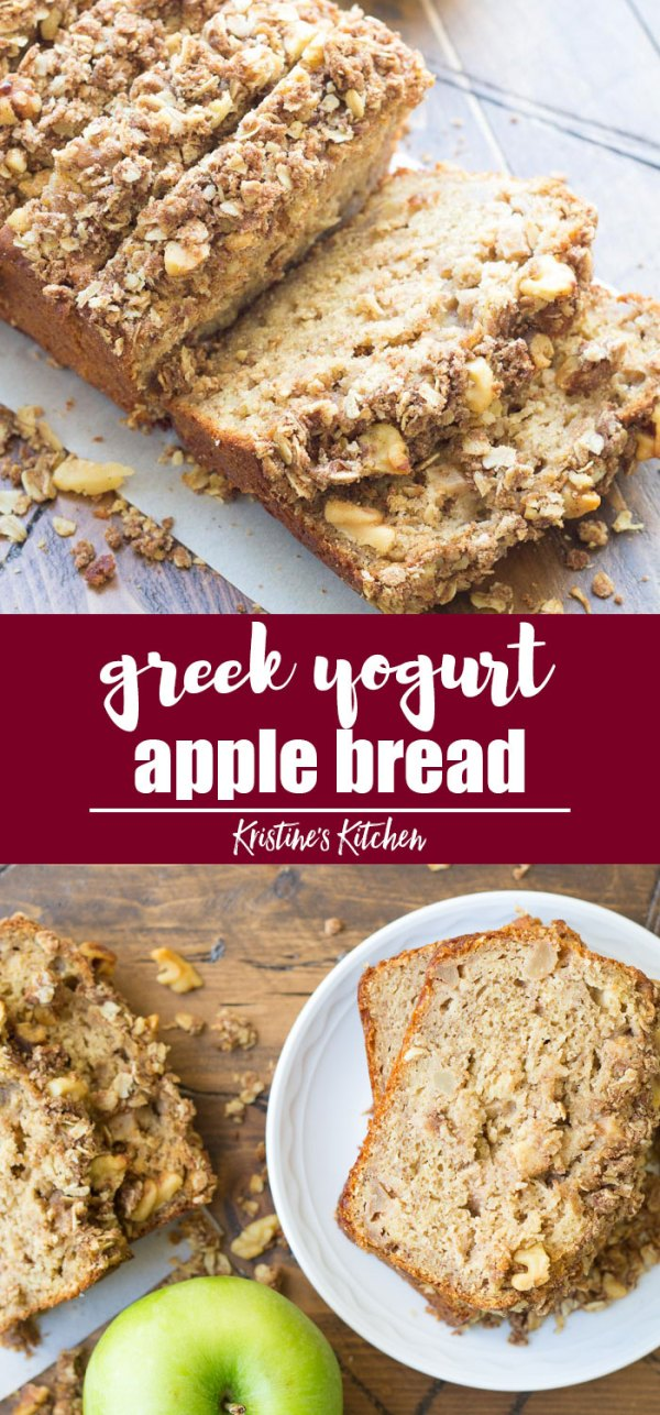 Pinterest Image for Healthy Cinnamon Apple Bread recipe with streusel topping! Greek yogurt makes this apple bread extra moist!